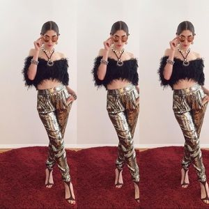 Alice and Olivia one of a kind gold sparkle pants